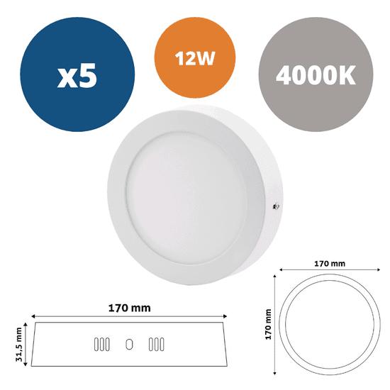 Avide 5x ALU LED nadgradni panel okrogli 12W nevtralno bela 4000K