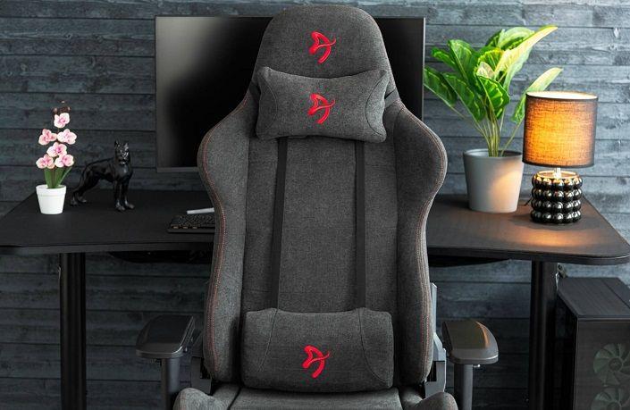Fotel gamingowy Arozzi Verona Signature Soft Fabric, czarno-czerwony (VERONA-SIG-SFB-RD) solidna konstrukcja oddychająca tkanina szerokie siedzisko