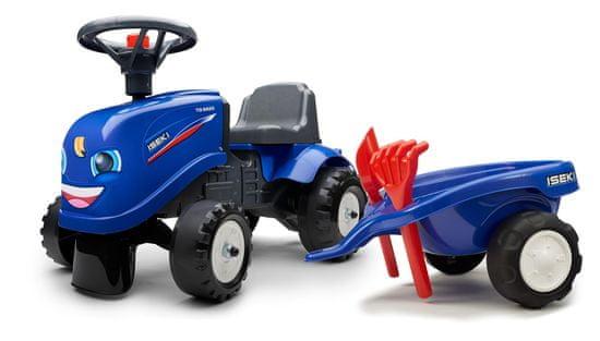 Falk traktor Iseki z volanom in prikolico, moder