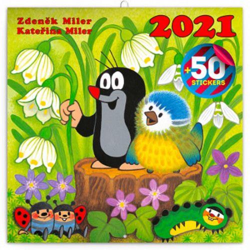 Kalendář 2021 poznámkový: Krteček, s 50 samolepkami, 30 × 30 cm