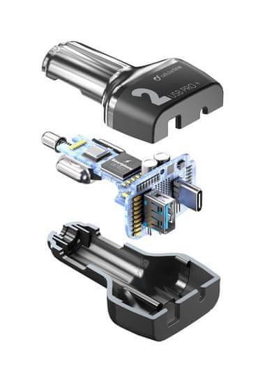 CellularLine Multipower 2 Pro + avtopolnilec, USB, USB-C, 36 W, črn