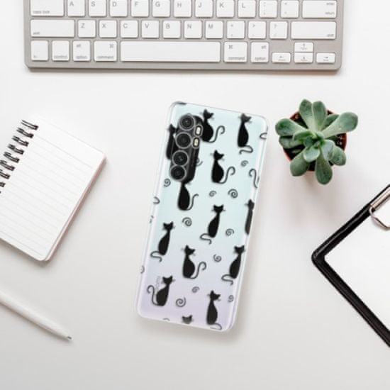 iSaprio Cat pattern 05 - black szilikon tok Xiaomi Mi Note 10 Lite