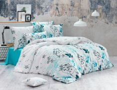 BedTex posteljnina Blommor. 140x200/70x90 cm, turkizna