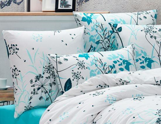 BedTex posteljnina Blommor, 220x200/2x 70x90 cm, turkizna