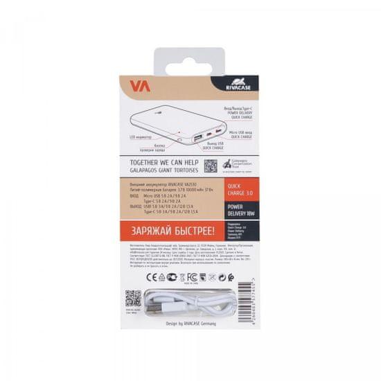 RivaCase VA2530 prenosna baterija, 10.000 mAh, Quick Charge 3.0, bela