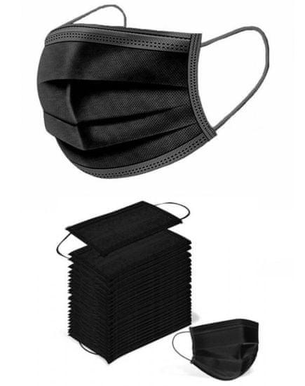 Rouška 3 vrstvá ochranná černá - 50 KS balení