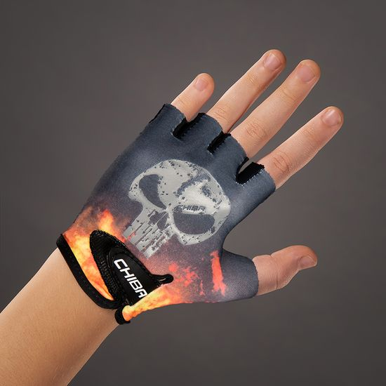CHIBA Cyklistické rukavice pro děti Cool Kids Lebka