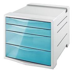 "Esselte Zásuvkový box ""Colour` Ice"", transparentní modrá, 4 zásuvky, plast 626284"