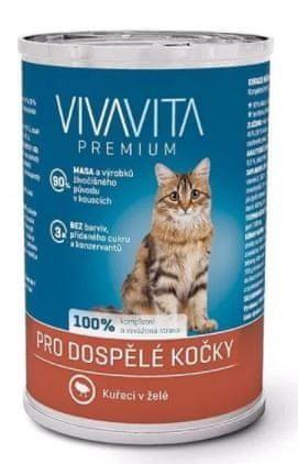 Vivavita Hrana za mačke kosi piščanca v želeju, 24x400 g