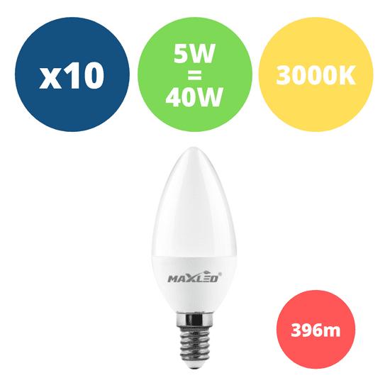MAX-LED 10x LED žarnica - sijalka E14 5W (40W) toplo bela 3000K