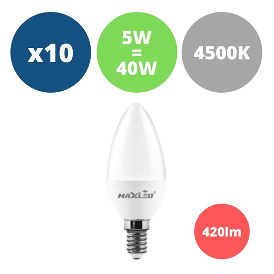 MAX-LED 10x LED žarnica - sijalka E14 5W (40W) nevtralno bela 4500K