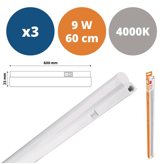 Avide 3x 60cm LED podelementna svetilka T5 9W PVC nevtralno bela 4000K