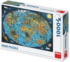 DINO puzzle rysowana mapa świata 1000 elementów