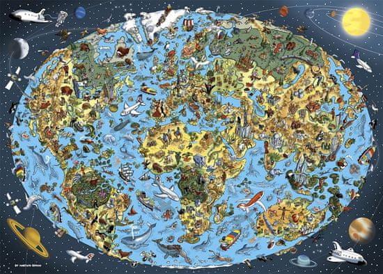 DINO Jigsaw crtana karta svijeta, 1000 komada