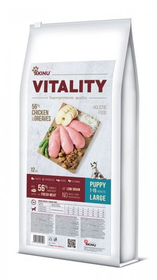 Akinu hrana za pse VITALITY dog puppy large chicken & greaves, 12 kg