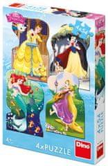 Dino Disney princeske in prijatelji sestavljanke, 4x 54 delov