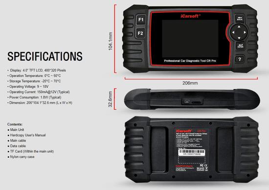 iCarsoft ICarsoft Cr Pro Multibrand diagnostični tester za avtomobile