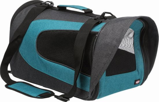 Trixie ALINA nejlon hordozó táska hálóval, 27x27x52 cm, antracit/kék, max. 5 kg