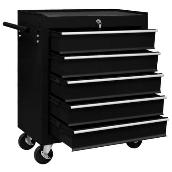 shumee Warsztatowy wózek narzędziowy z 5 szufladami, czarny