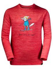 Jack Wolfskin fantovska majica Skiing Wolf Longsleeve Kids 1608831-2122, 128, rdeča