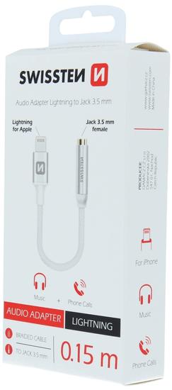 SWISSTEN adapter audio Textile Lightning/jack, srebrny
