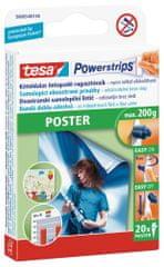 Tesa Powerstrips® Poster, proužky na plakáty, bílé, nosnost 200g, 20ks
