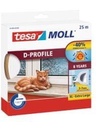 Tesa tesamoll® Gumové těsnění, bílé, na okna a dveře, D profil, 25m