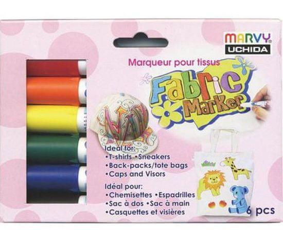 Marvy Popisovač barevný na textil sada (6ks), marvy, fixy