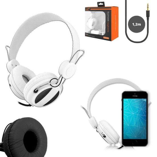 LTC Slušalke naglavne 3,5mm bele 1,2m