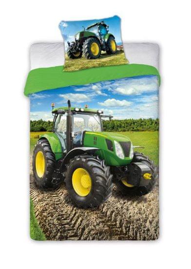 FARO Textil Dětské povlečení Traktor - zelený 140x200 cm
