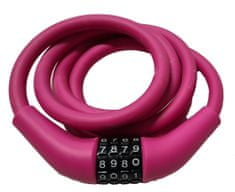 Carol Cycle ključavnica 12 x 1500 mm, mehka, na številke, nastavljiva kombinacija, roza