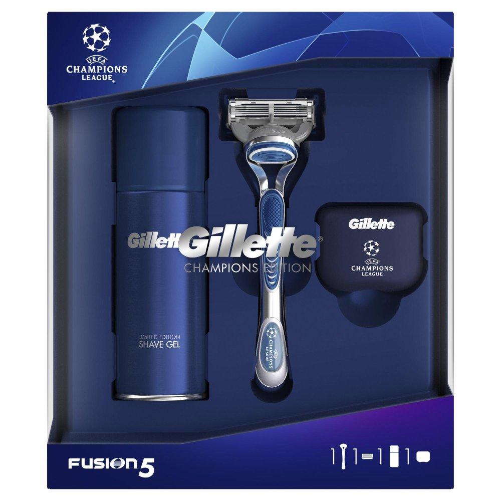 Gillette Dárkové Balení Fusion5 Holicí Strojek + Gel Na Holení + Cestovní Pouzdro