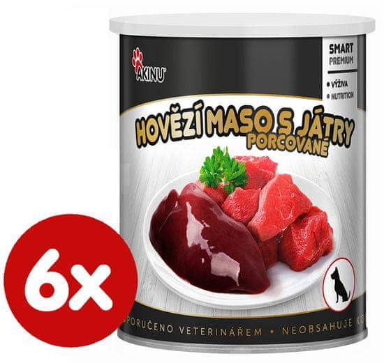 Akinu Premium konzerva za pse, goveje meso z jetrci, 6x 800 g