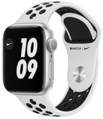 Apple Watch Nike Series 6, 40mm Silver Aluminium Case with Pure Platinum/Black Sport Band (M00T3HC/A)
