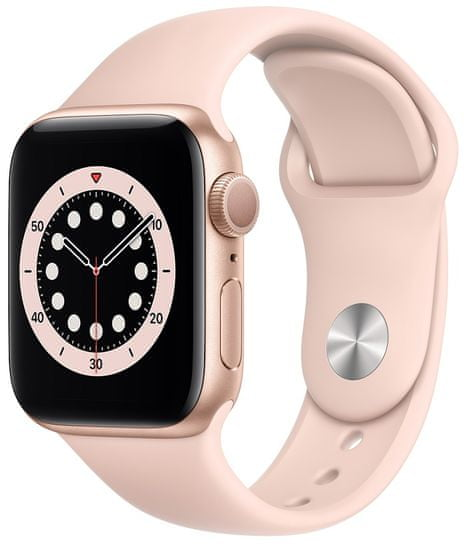 Apple Watch Series 6, 40mm Gold Aluminium Case with Pink Sand Sport Band (MG123HC/A)