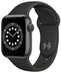 Apple Watch Series 6, 40mm Space Gray Aluminium Case with Black Sport Band (MG133HC/A)