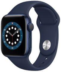 Apple Watch Series 6, 40mm Blue Aluminium Case with Deep Navy Sport Band (MG143HC/A)