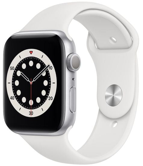 Apple Watch Series 6, 44mm Silver Aluminium Case with White Sport Band (M00D3HC/A)