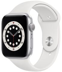 Apple Watch Series 6, 40mm Silver Aluminium Case with White Sport Band (MG283HC/A)