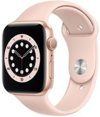 Apple Watch Series 6, 44mm Gold Aluminium Case with Pink Sand Sport Band (M00E3HC/A)