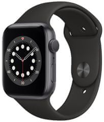 Apple Watch Series 6, 44 mm Space Gray Aluminium Case with Black Sport Band (M00H3HC/A)