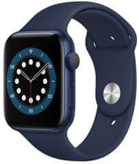 Apple Watch Series 6, 44mm Blue Aluminium Case with Deep Navy Sport Band (M00J3HC/A)