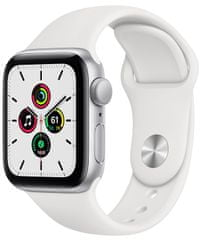 Apple Watch SE, 40mm Silver Aluminium Case with White Sport Band (MYDM2HC/A)