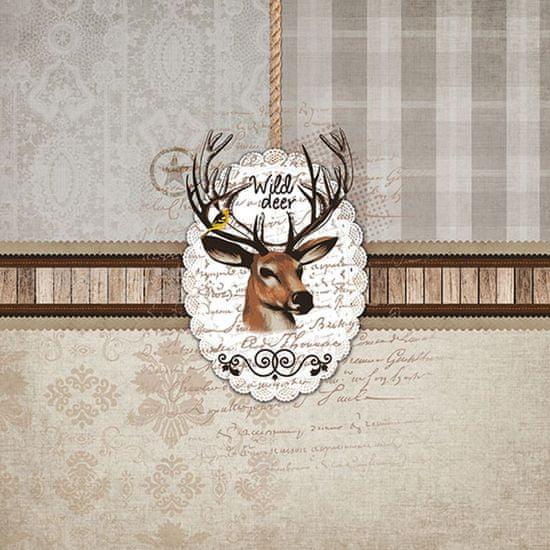 AKAH Papírové ubrousky s motivem hlavy jelena