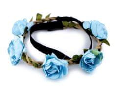 Kraftika 1ks 10 modrá sv. pružná čelenka do vlasů s růžemi