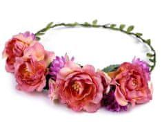 Kraftika 1ks fialovorůžová květinový věneček do vlasů