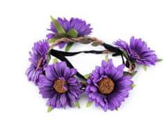 Kraftika 1ks fialková pružná čelenka do vlasů s květy