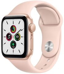 Apple Watch SE, 40 mm Gold Aluminium Case with Pink Sand Sport Band (MYDN2HC/A)
