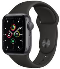 Apple Watch SE, 40mm Space Gray Aluminium Case with Black Sport Band (MYDP2HC/A)