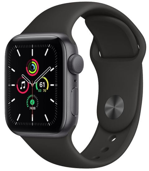 Apple Watch SE, 40mm Space Gray Aluminium Case with Black Sport Band (MYDP2HC/A)